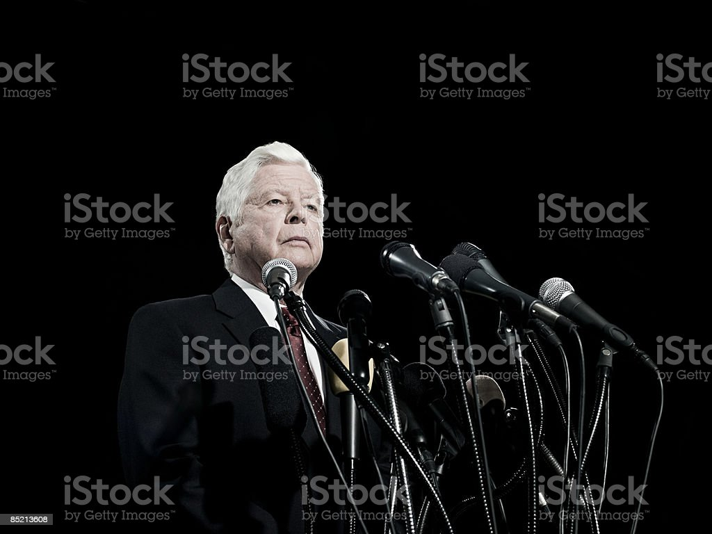 Politician and microphones royalty-free stock photo
