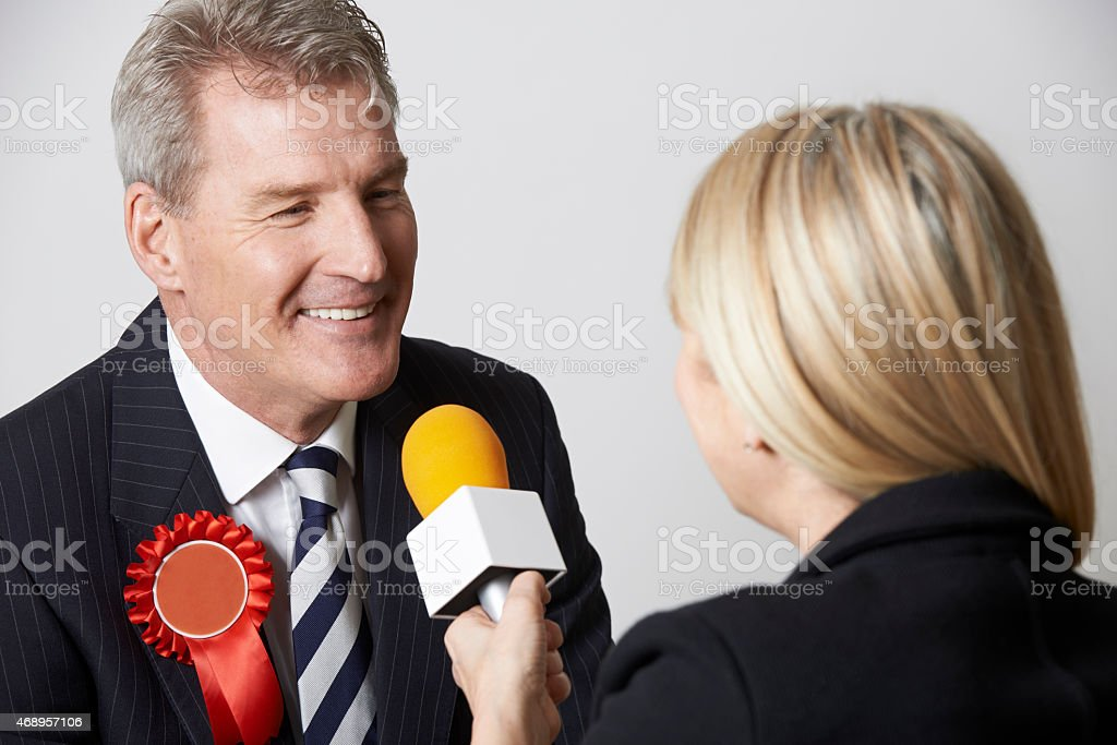 Politician Being Interviewd By Journalist During Election stock photo