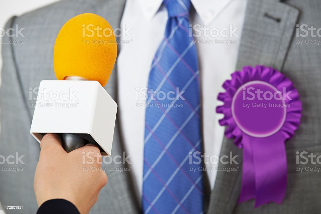 Politician Being Interviewed By Journalist During Election stock photo