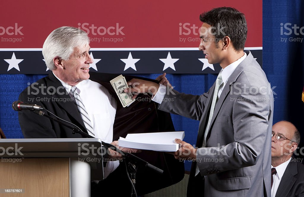 Politician Bribed by Lobbyist stock photo
