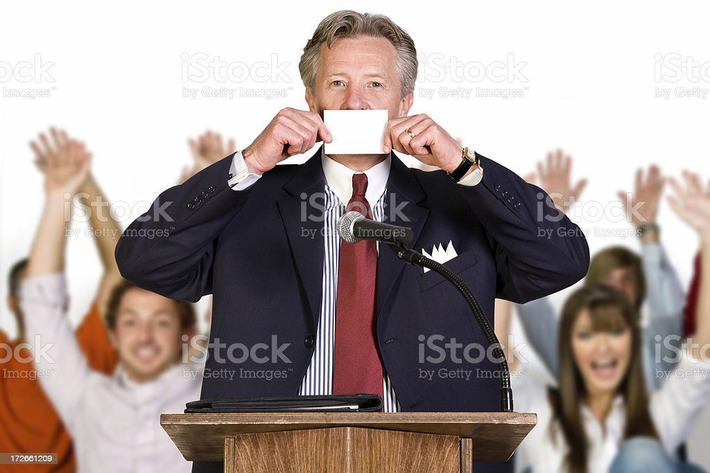 Politician Covering Mouth With Paper royalty-free stock photo