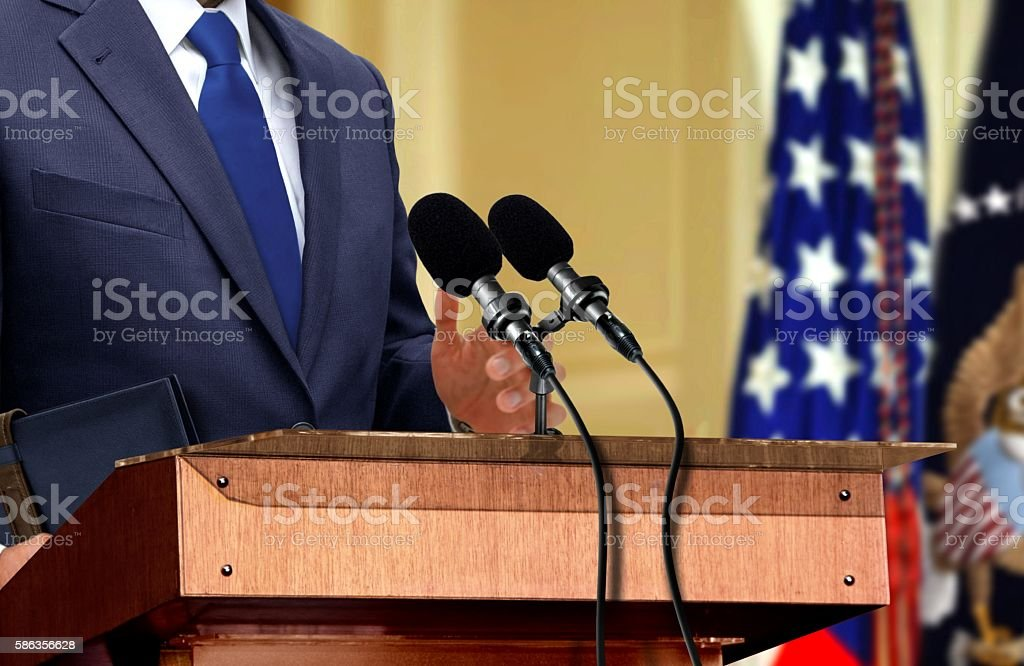 Politician during press conference stock photo
