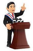 3D Politician giving a speech of investiture. President