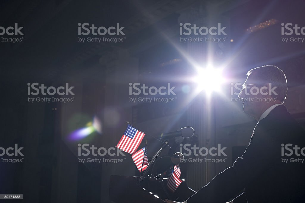 A politician giving a speech royalty-free stock photo