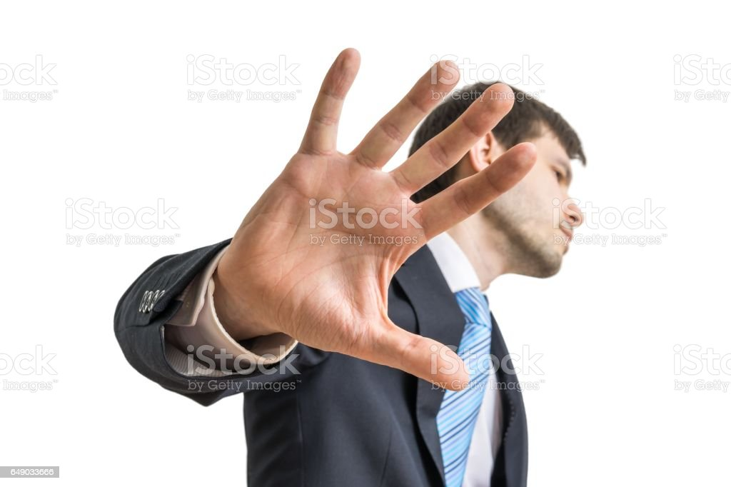 Politician is showing hand. No comment gesture. Isolated on white background. stock photo