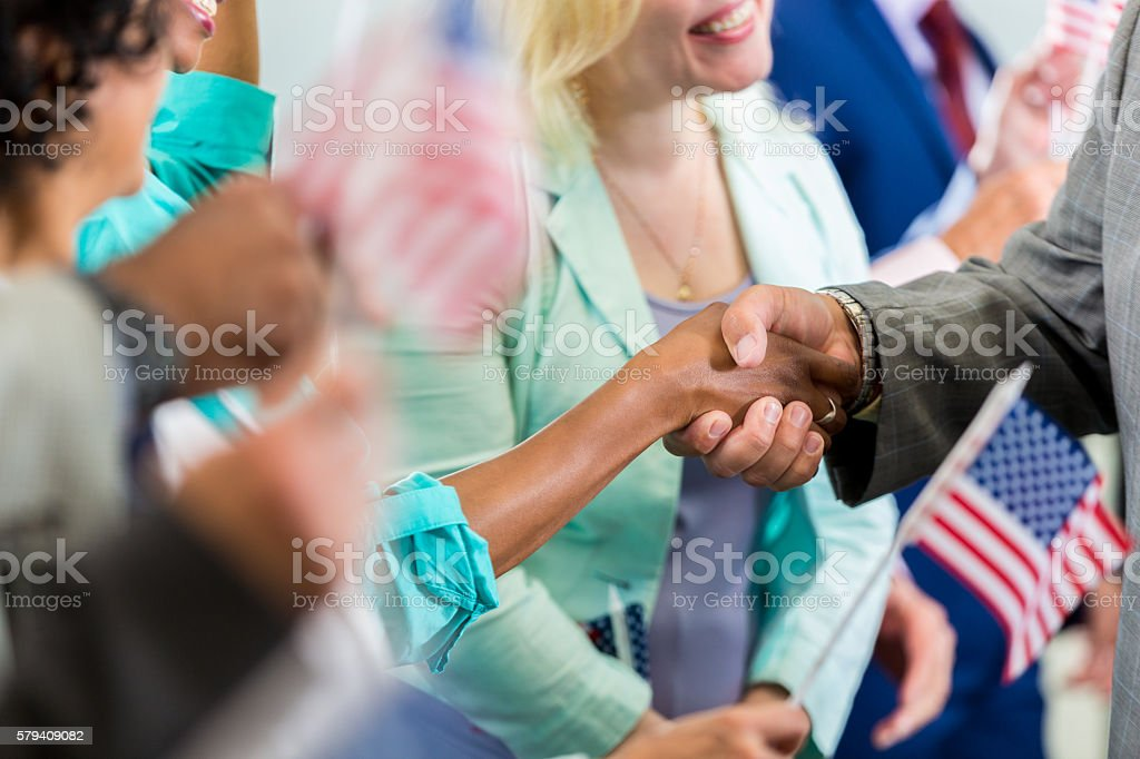 Politician shaking hands stock photo