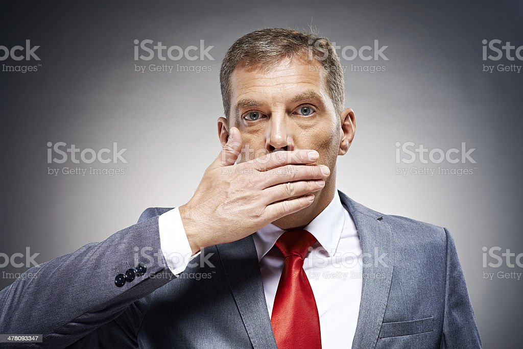 Politician speaking no evil royalty-free stock photo