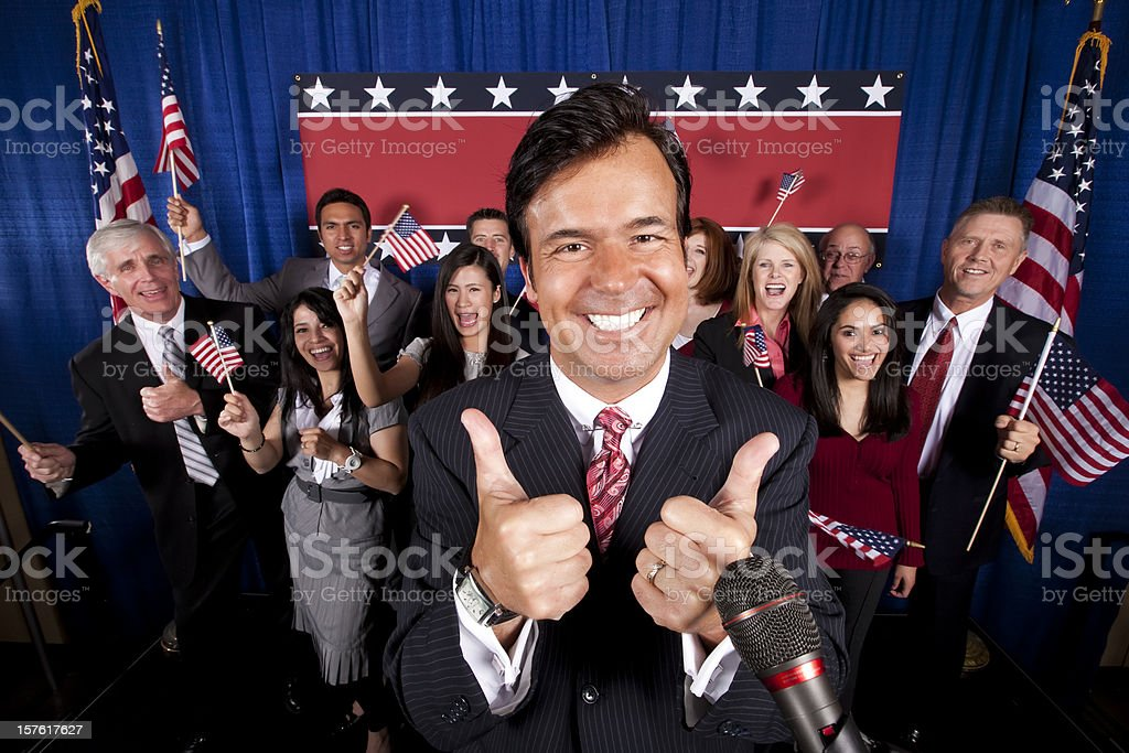 Politician Victory Celebration-Thumbs Up stock photo