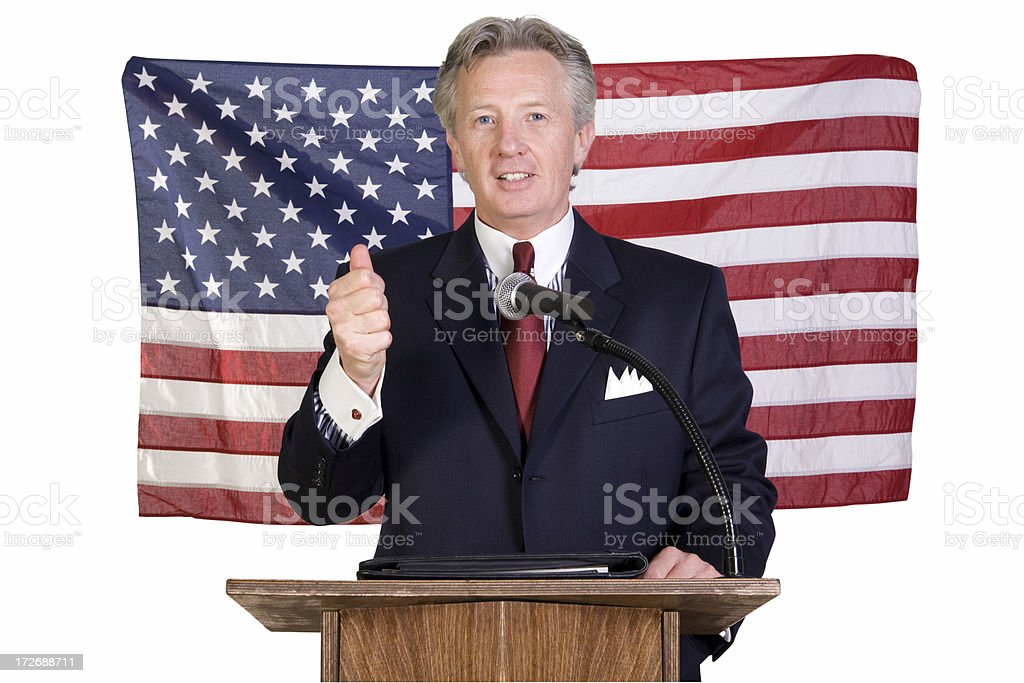 Politician with the thumbs up sign royalty-free stock photo