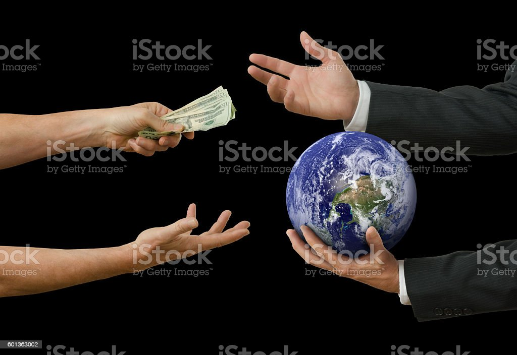 Politicians and big business selling the world stock photo