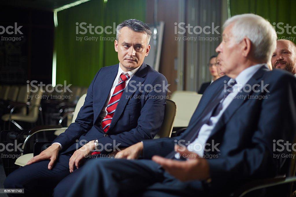 Politicians at summit stock photo