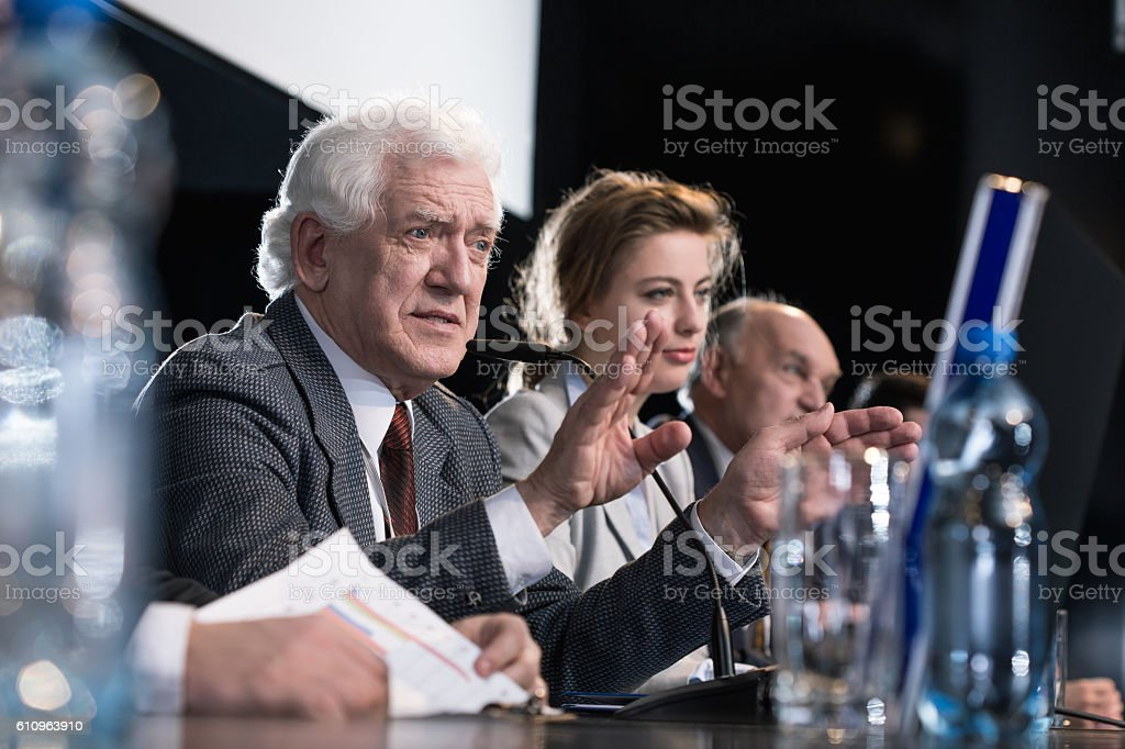 Politicians during press conference stock photo