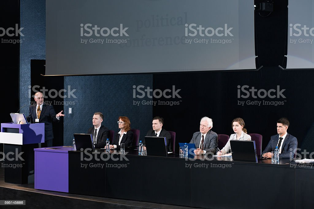 Politicians gathered to debate over crucial issues stock photo