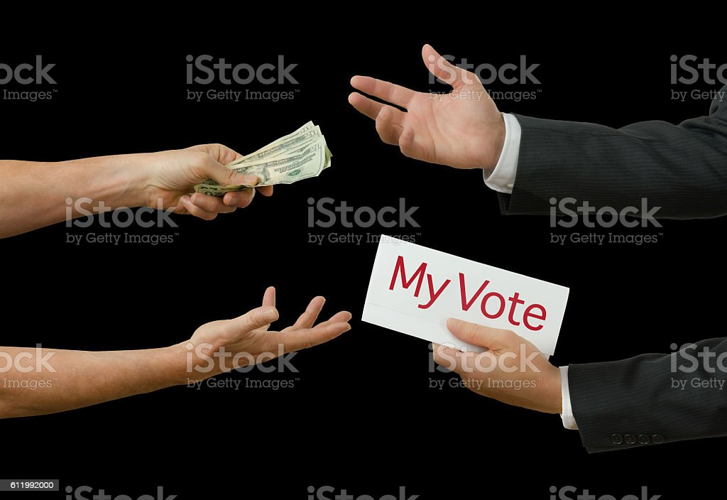 Politicians taking bribe for his vote on legislation stock photo