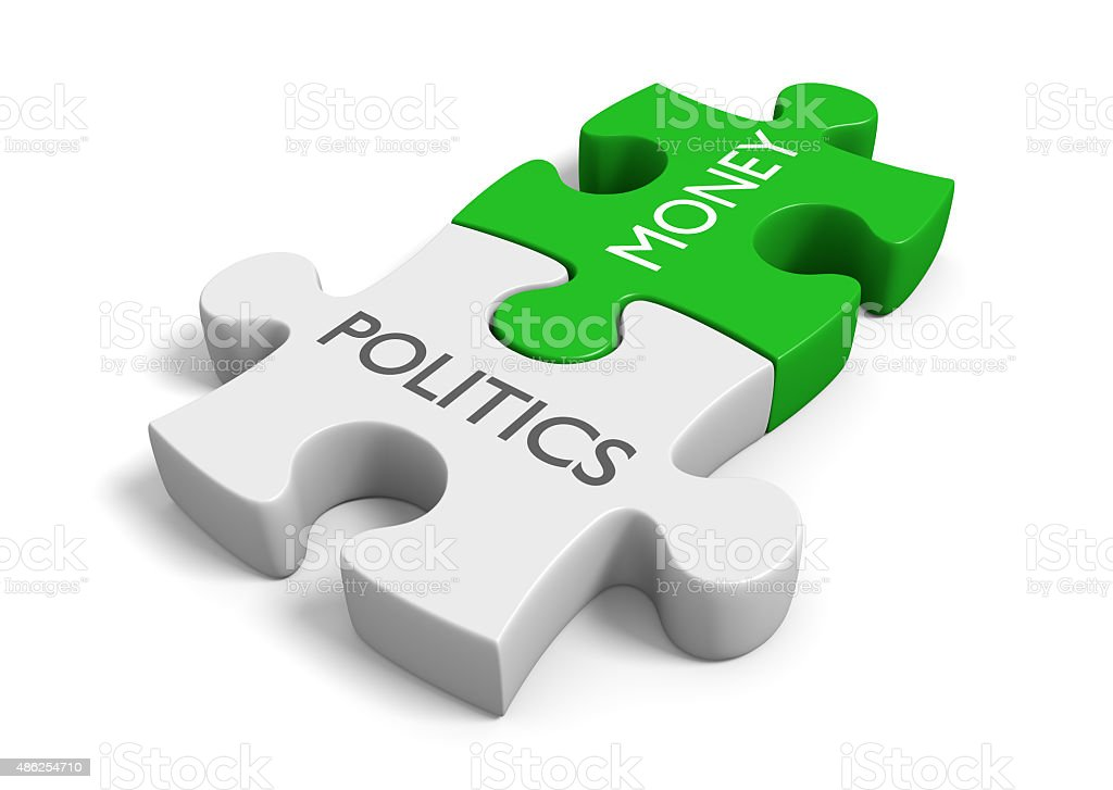 Politics and money puzzle representing corruption of wealth in elections stock photo