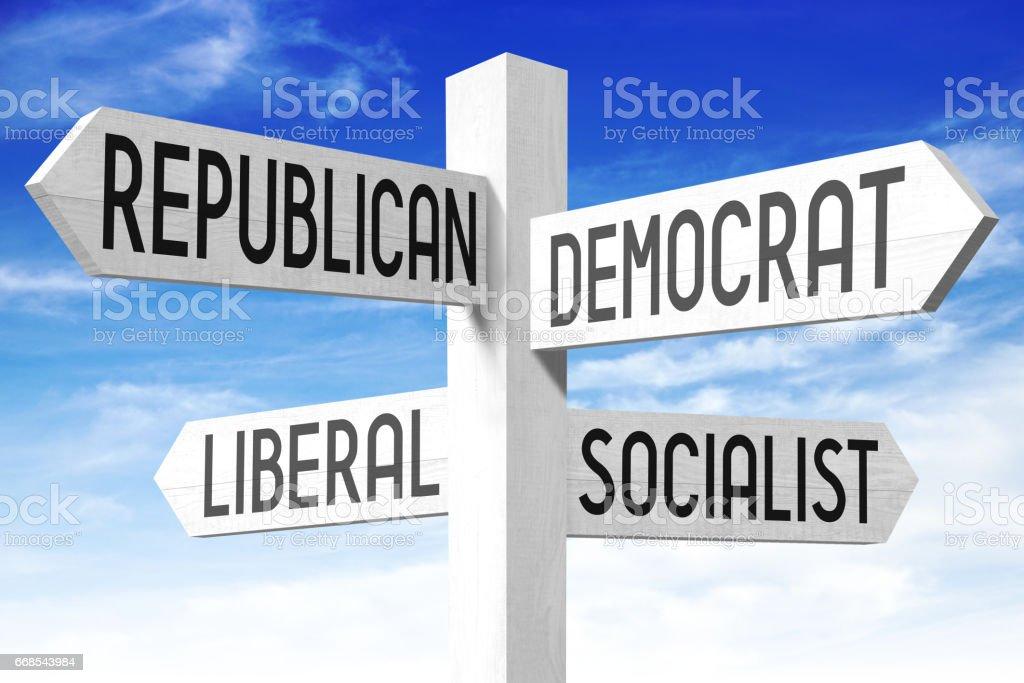 Politics concept - wooden signpost stock photo