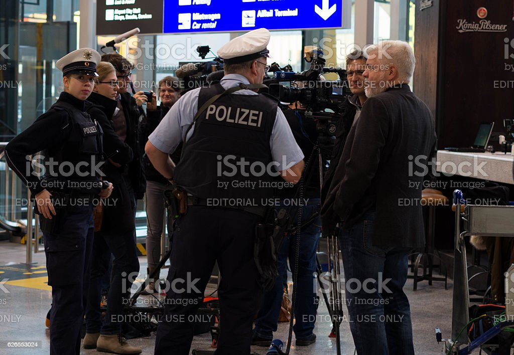 Polizei in Frankfurt airport stock photo