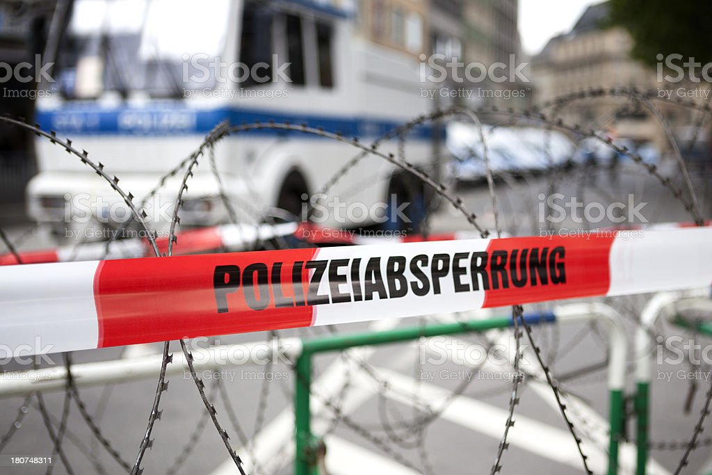 Polizeiabsperrung, police line, barbed wire royalty-free stock photo