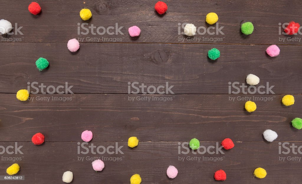 Polka dot background on the wood with copy space stock photo