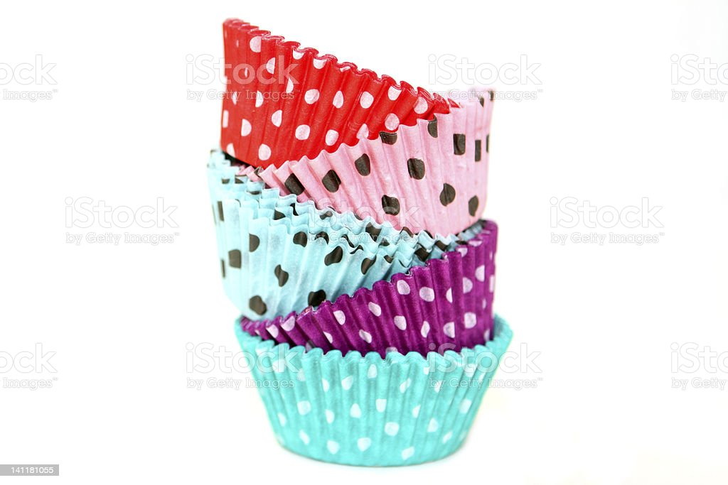 poke a dotted cupcake wrappers stock photo