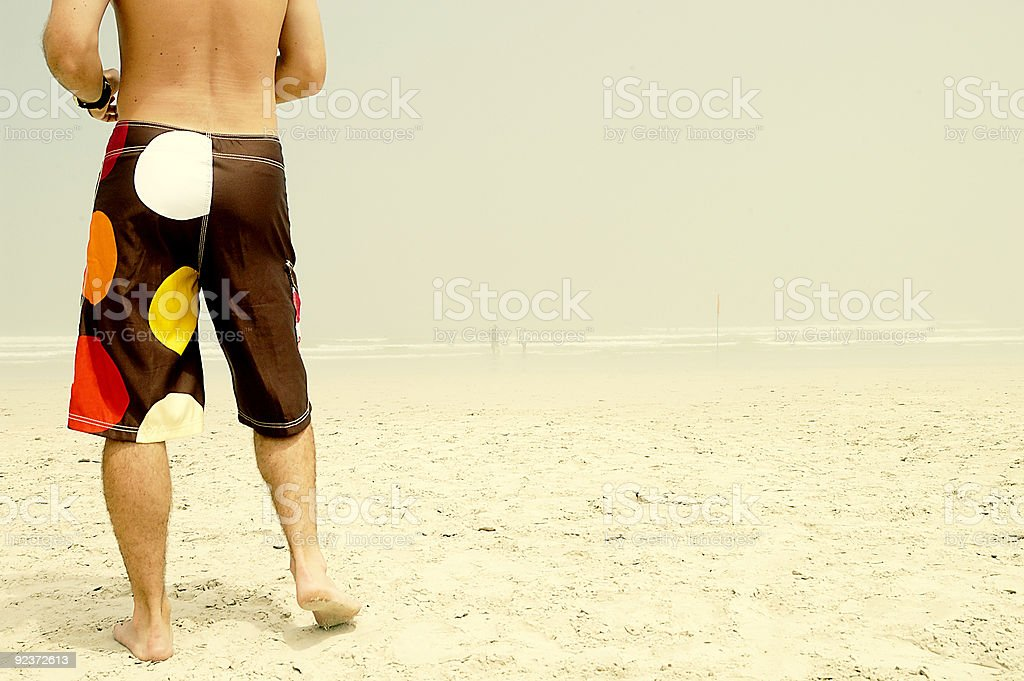 Polka dot guy on beach royalty-free stock photo