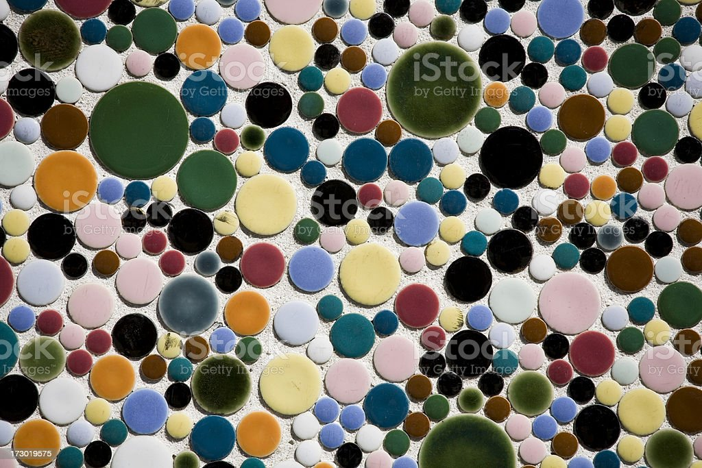 Polka dot tiles as architectural wall feature royalty-free stock photo