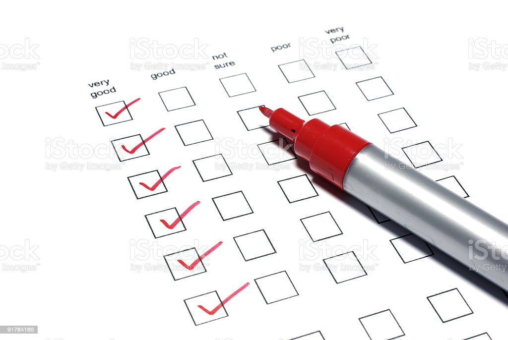 Poll list with red ticks and marker on white background. royalty-free stock photo