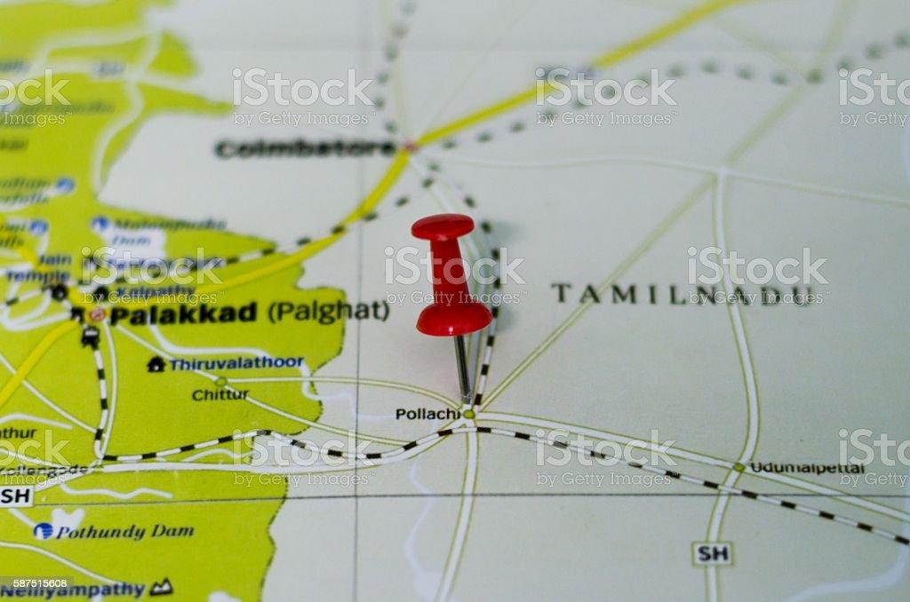 Pollachi map stock photo