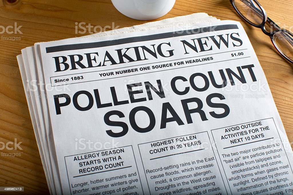 Pollen Count Headline stock photo