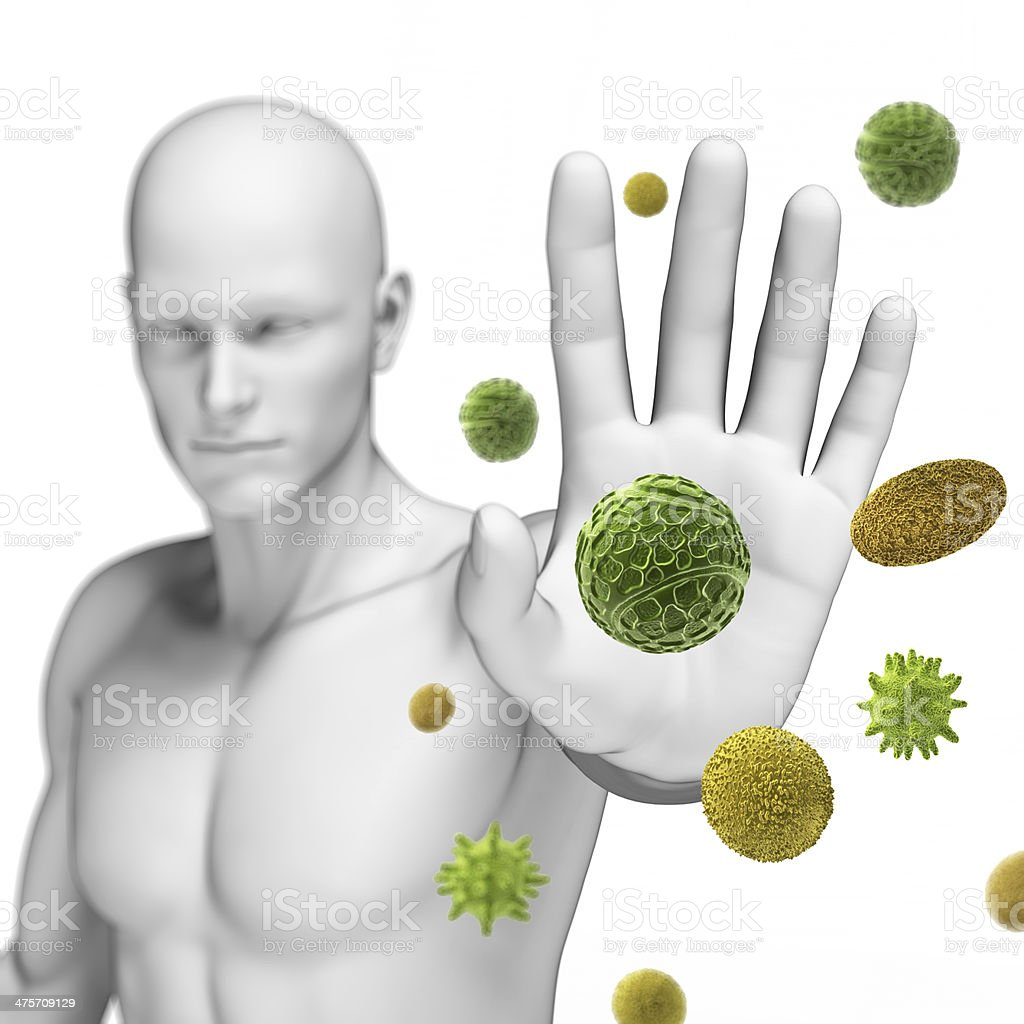 Pollen molecules being block by white male figure stock photo
