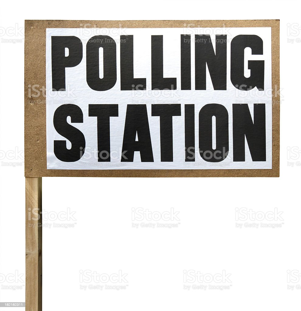 Polling station sign cut-out stock photo
