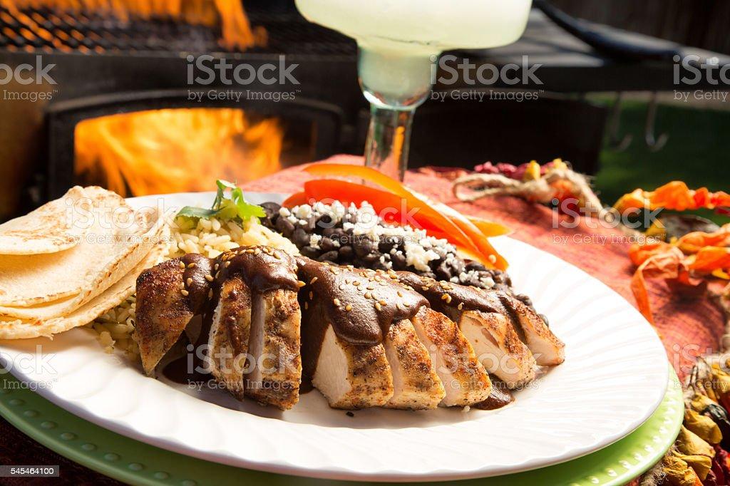 Pollo Con Molé With Beans, Rice, Tortillas And A Margarita stock photo