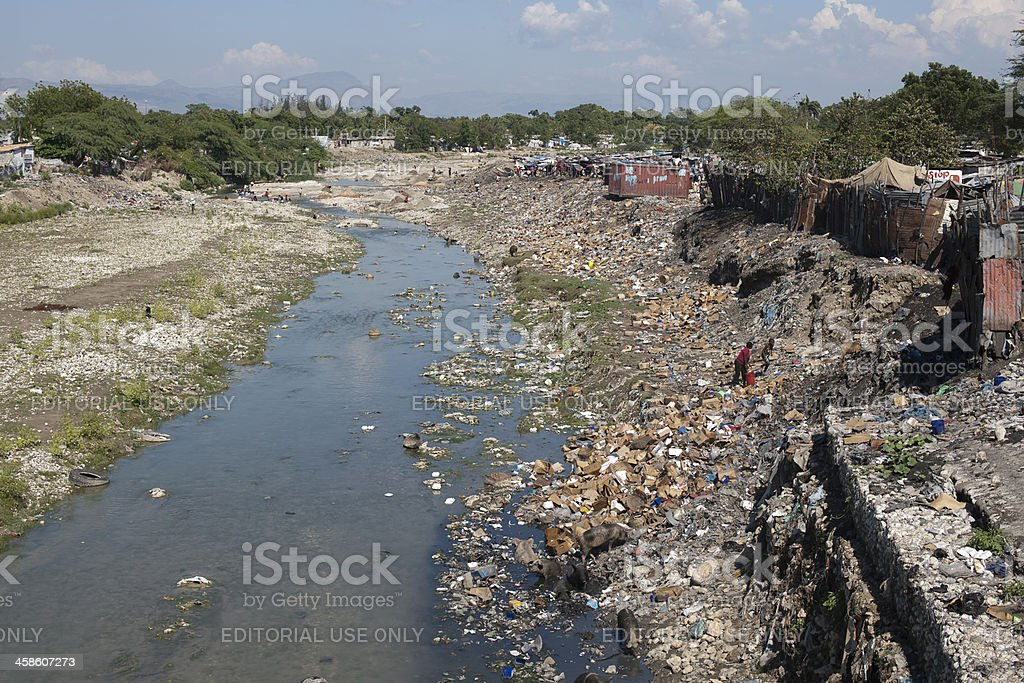 Polluted area in Haiti royalty-free stock photo
