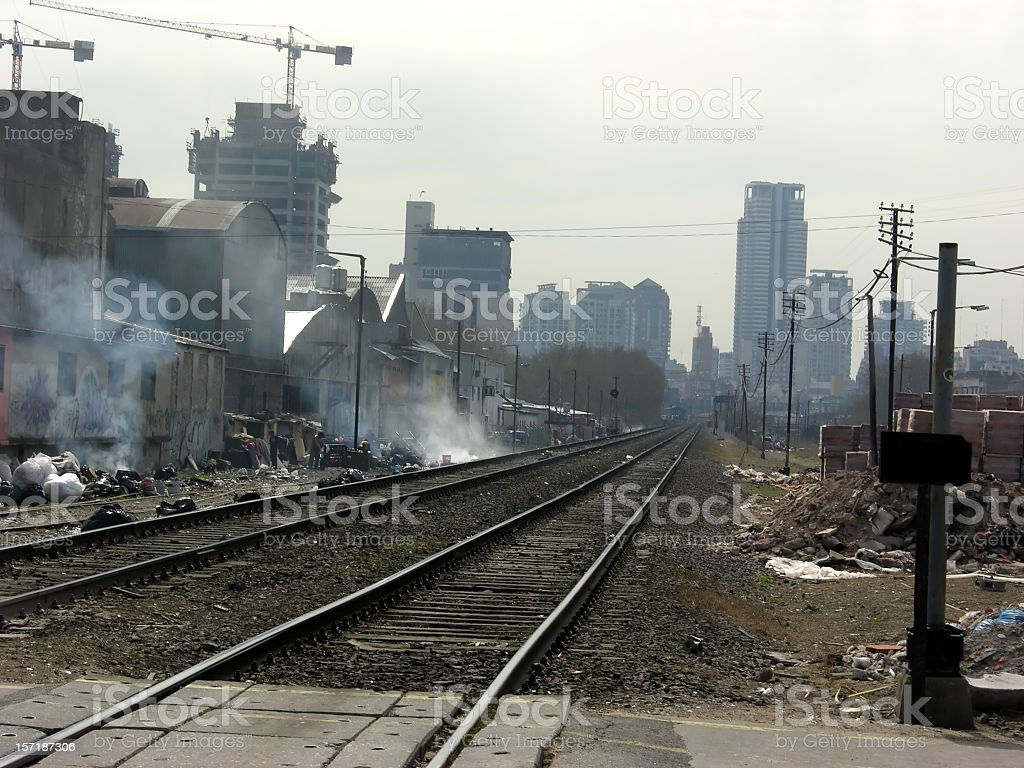 Polluted city stock photo