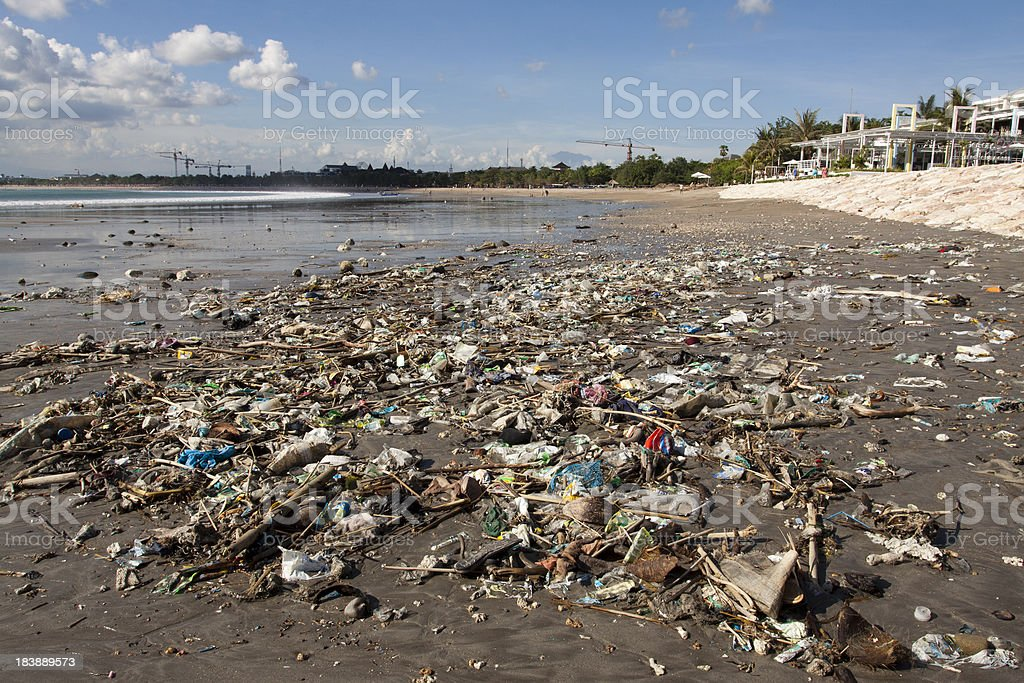 Polluted Kuta beach in Indonesia stock photo
