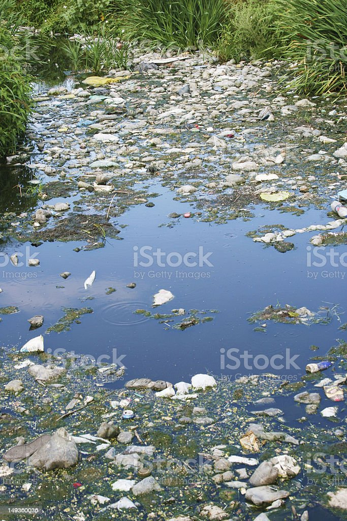Polluted river royalty-free stock photo