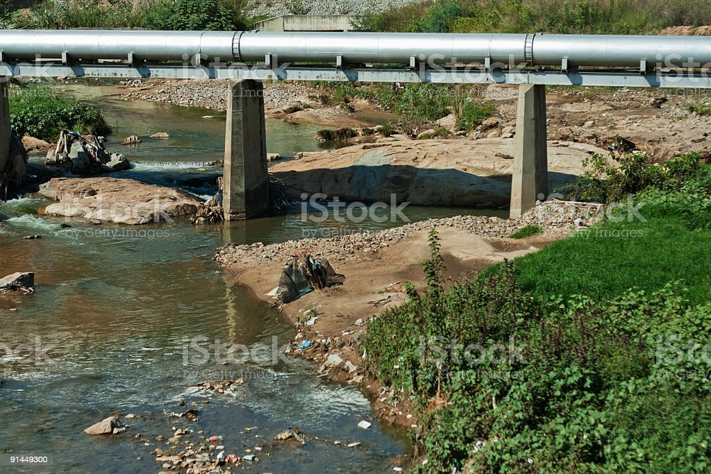 Polluted River stock photo