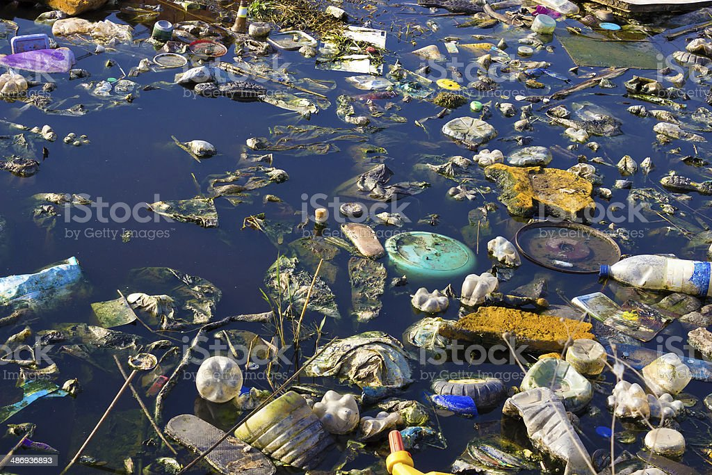 Polluted rivers stock photo