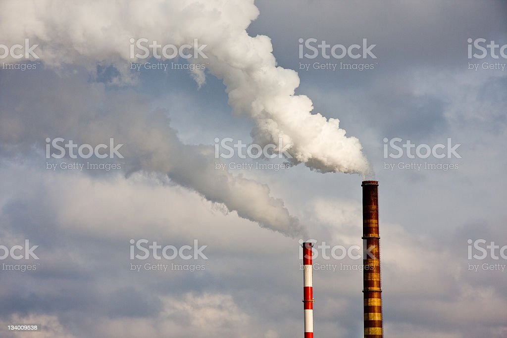 Polluted smoke from power plant stock photo