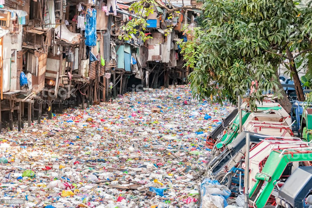 Polluted Urban River stock photo