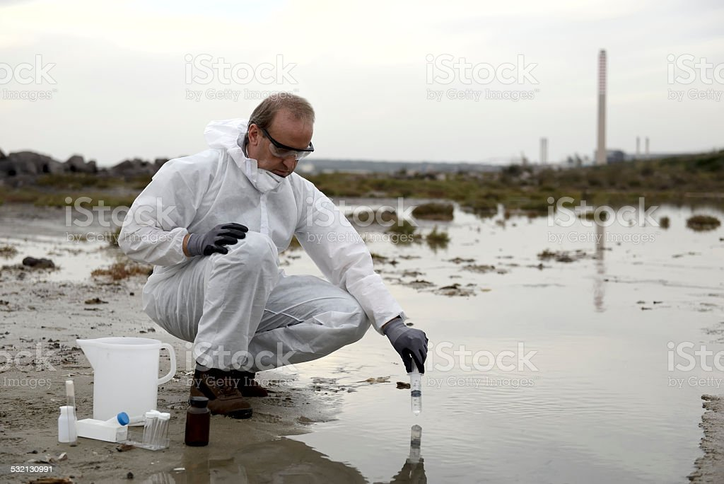 Polluted water stock photo