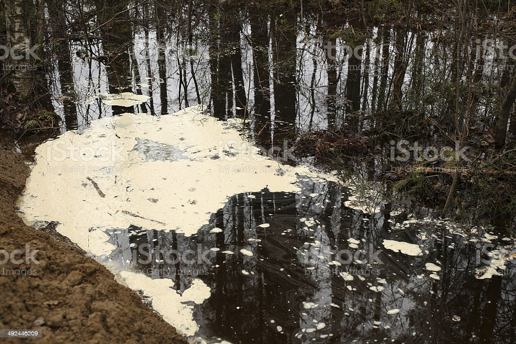 Polluted water with foam stock photo