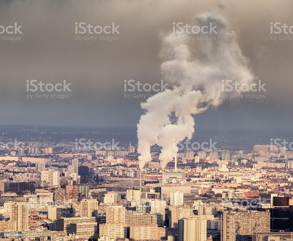Polluting chimneys in Paris stock photo
