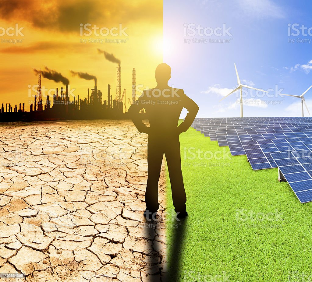 pollution and clean energy concept. stock photo