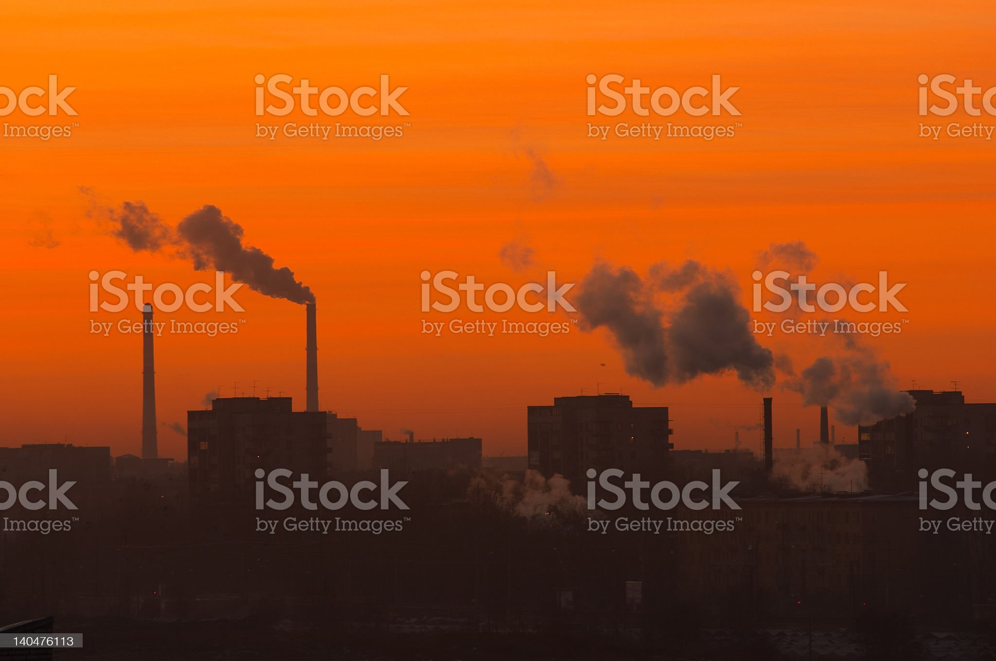Pollution cityscape evening royalty-free stock photo