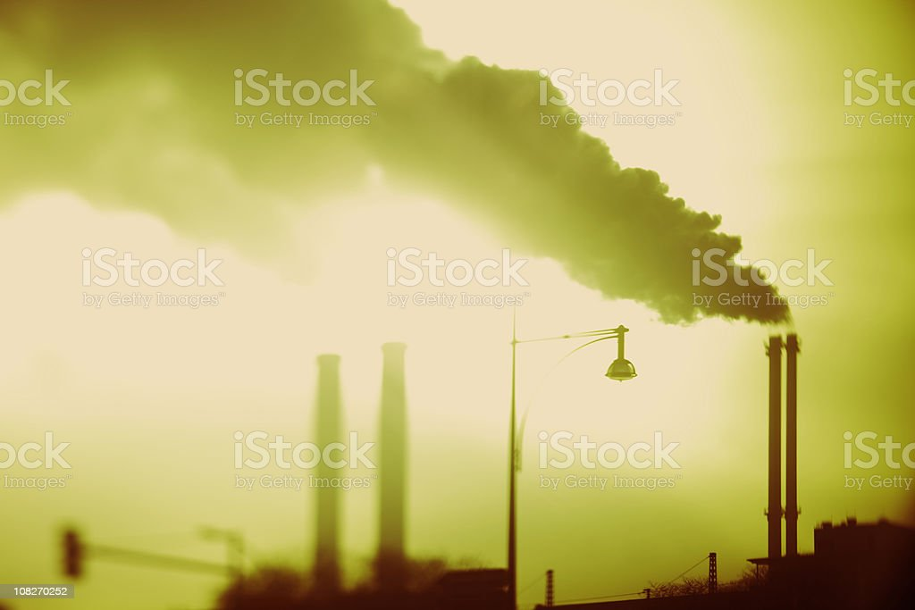 Pollution Coming from Smoke Stacks royalty-free stock photo