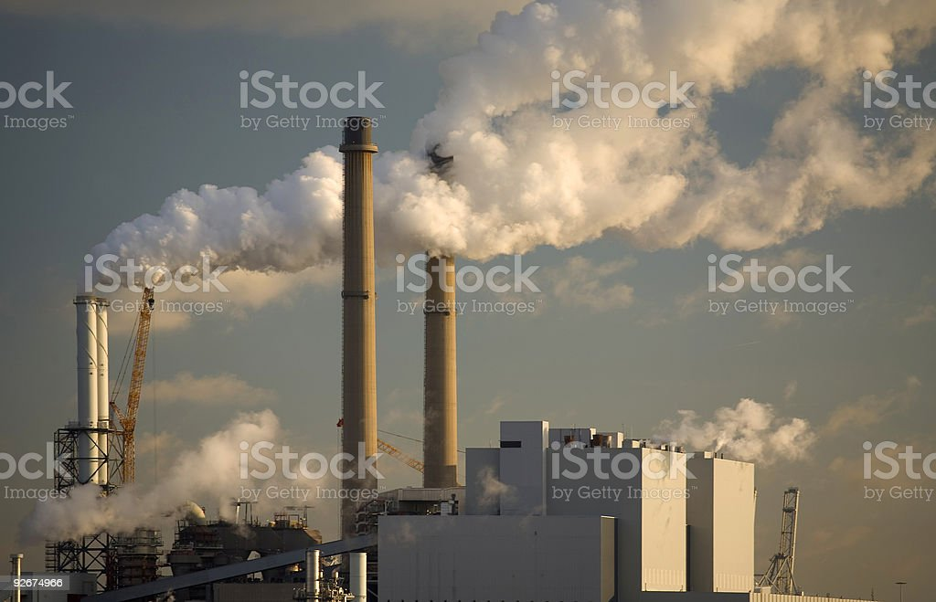 Pollution from a factory stock photo