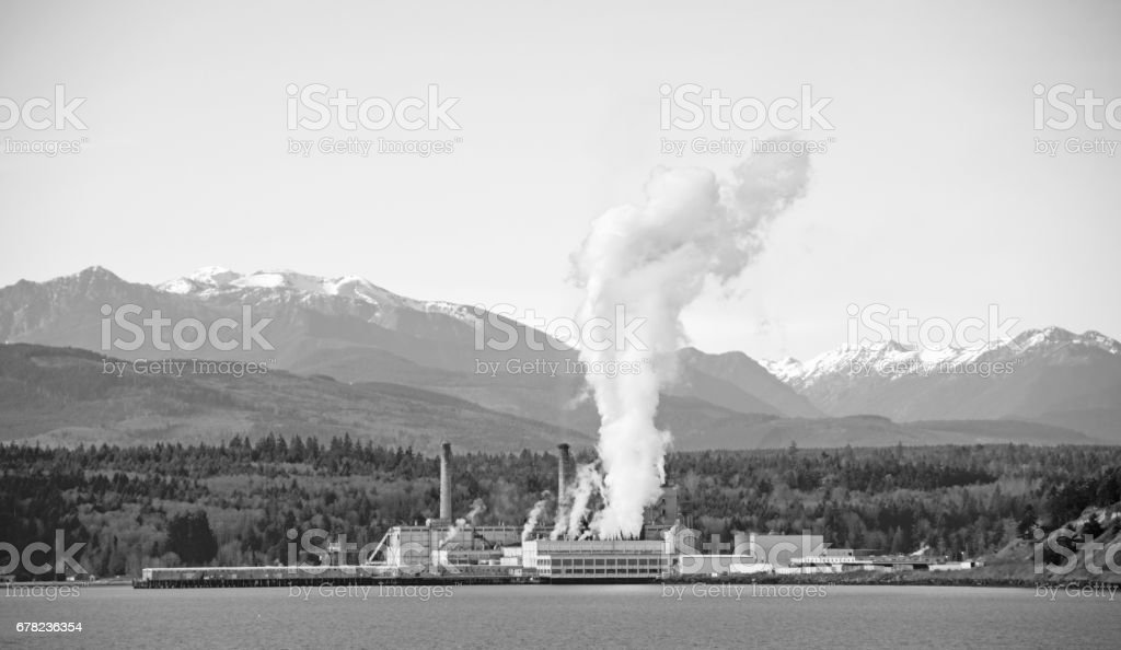 Pollution from a pulp and paper mill stock photo