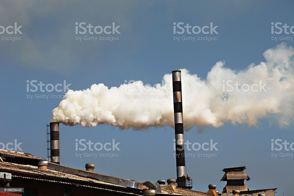 Pollution from Paper Factory stock photo