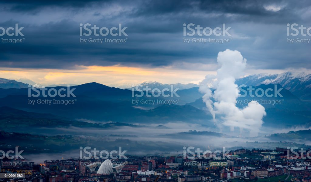 Pollution in important cities stock photo